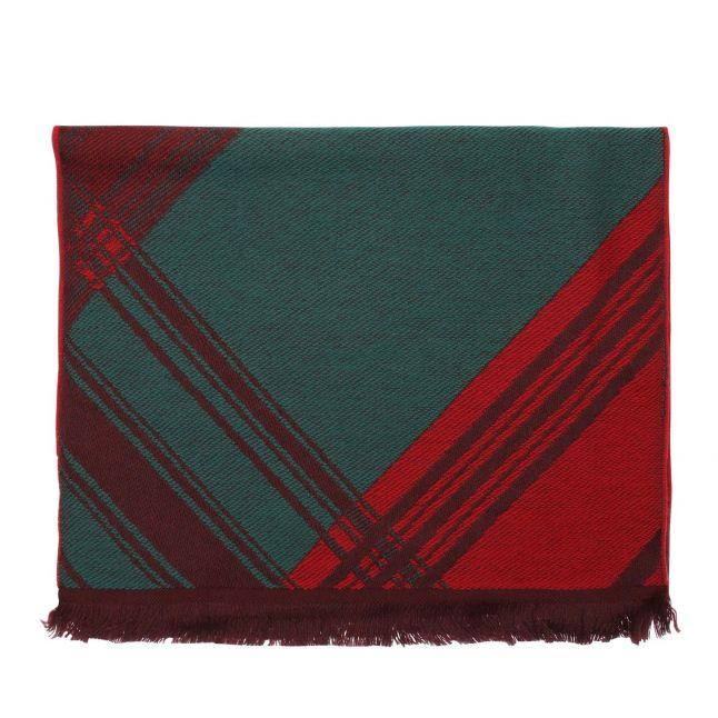 Womens Green Tartan Wool Scarf