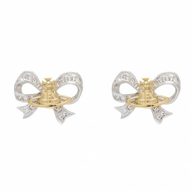 Womens Silver/Gold Gail Orb Bow Earrings