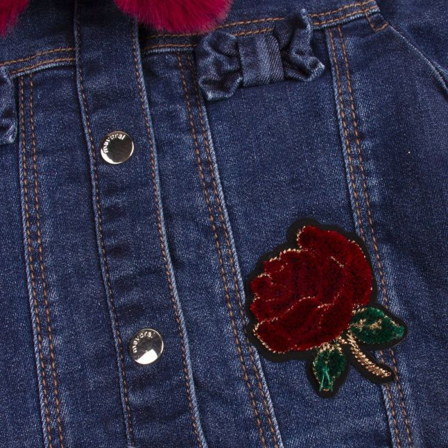 Girls Dark Denim Faux Fur Collar Denim Jacket