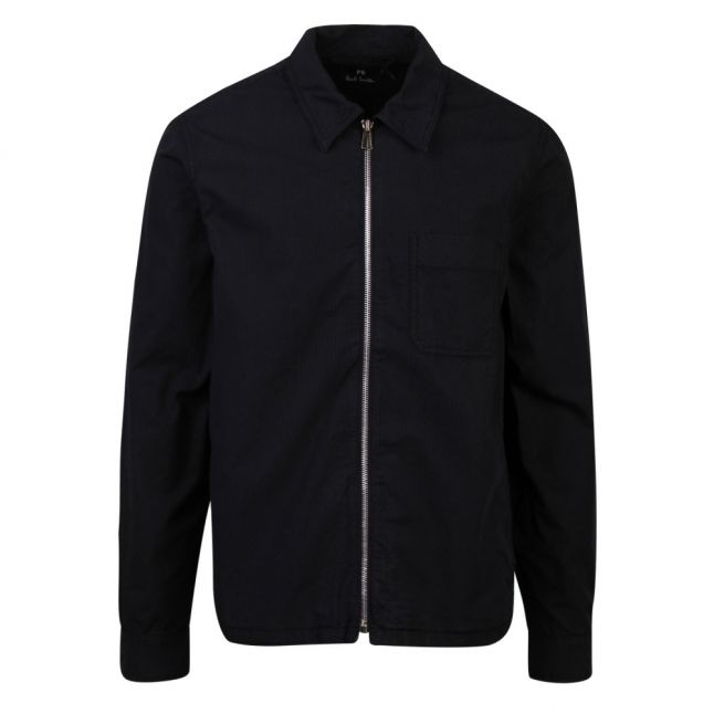 Mens Dark Navy Zip Front Overshirt