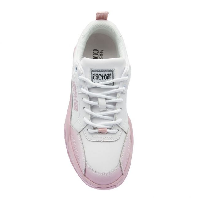 Womens White/Pink Gradient Chunky Trainers
