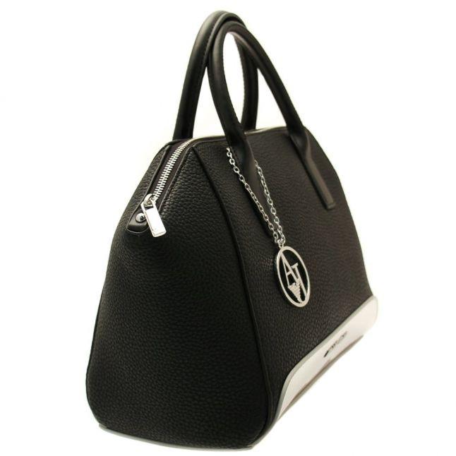 Womens Black Metallic Detail Tote Bag