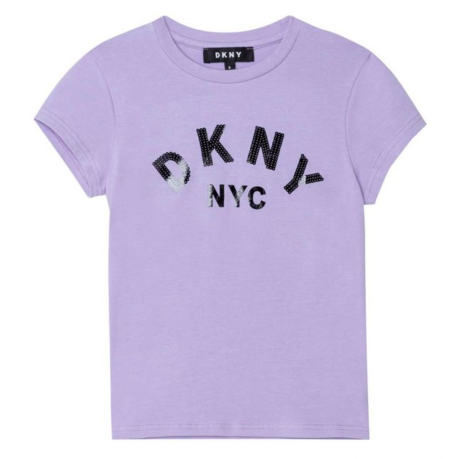 Girls Lilac Shiny Logo S/s T Shirt