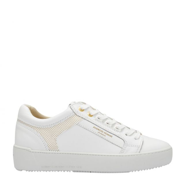 Mens Ghost White Venice Gold Laser Trainers