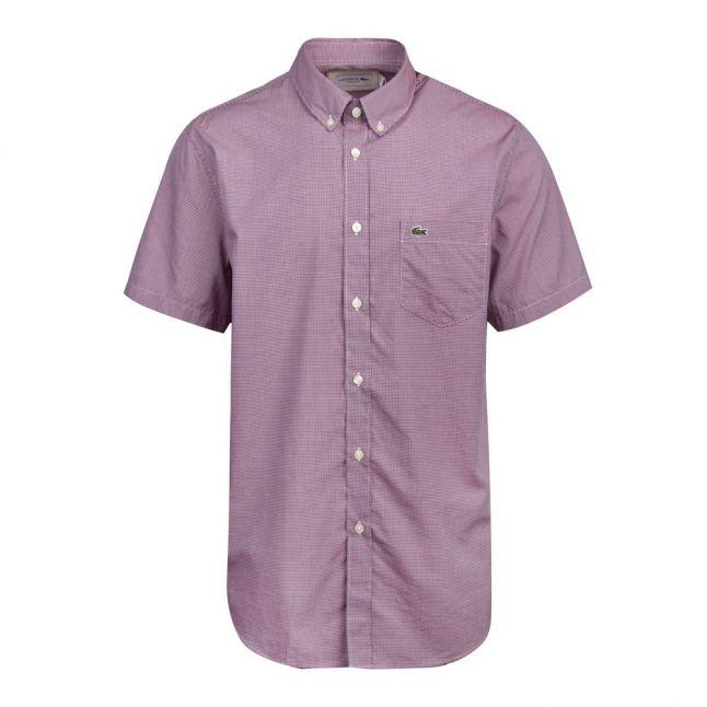 Mens Red Mini Gingham S/s Shirt