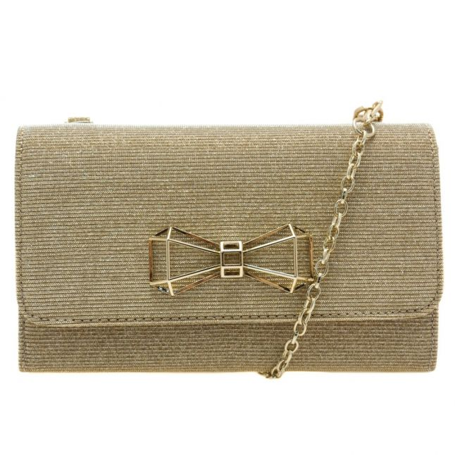 Womens Gold Traynor Geo Bow Glitter Evening Bag