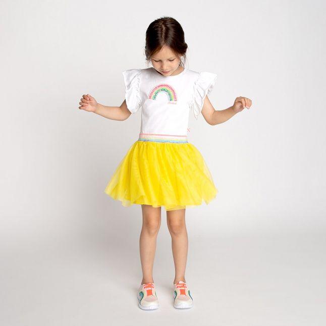 Girls White/Yellow Rainbow Net Skirt Dress