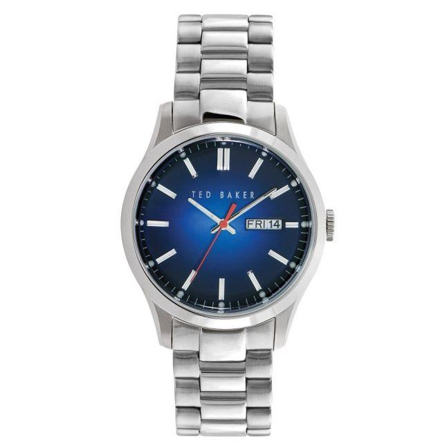 Mens Navy Sunray Dial Silver Bracelet Strap Watch