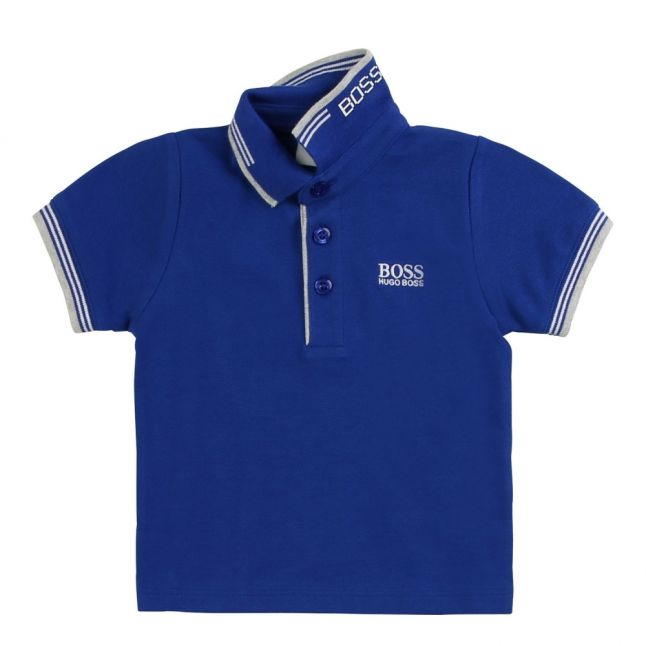 Toddler Wave Blue Tipped Logo S/s Polo Shirt