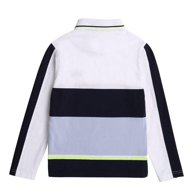 Boys White/Navy Colourblock Stripe L/s Polo Shirt
