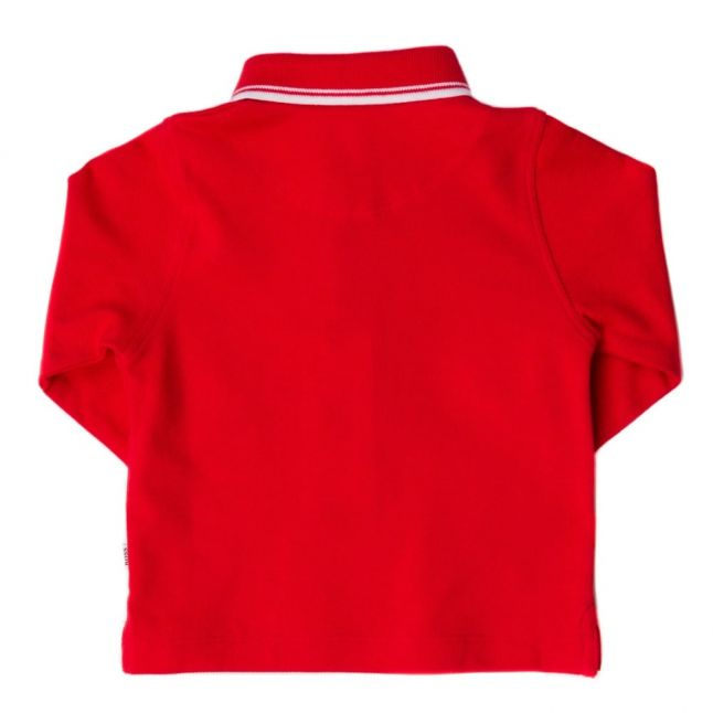 Baby Red Branded Tipped L/s Polo Shirt