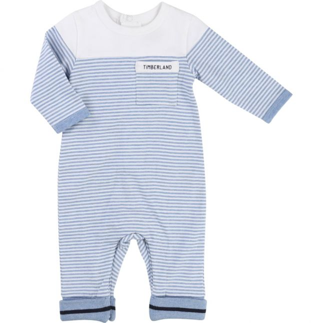 Baby Blue Striped L/s Romper