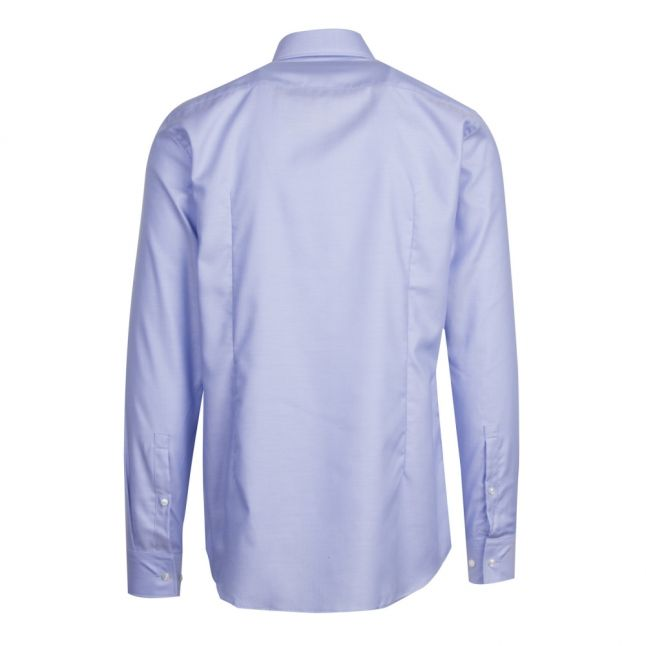 Mens Light Blue Kason Herringbone Slim Fit L/s Shirt