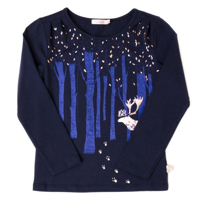 Girls Navy Deer & Woods L/s Tee Shirt