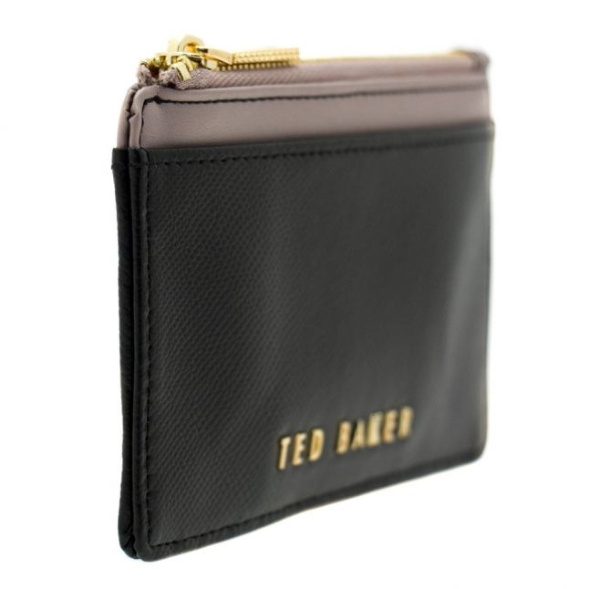 Womens Black Kinnble Crosshatch Leather Coin Purse