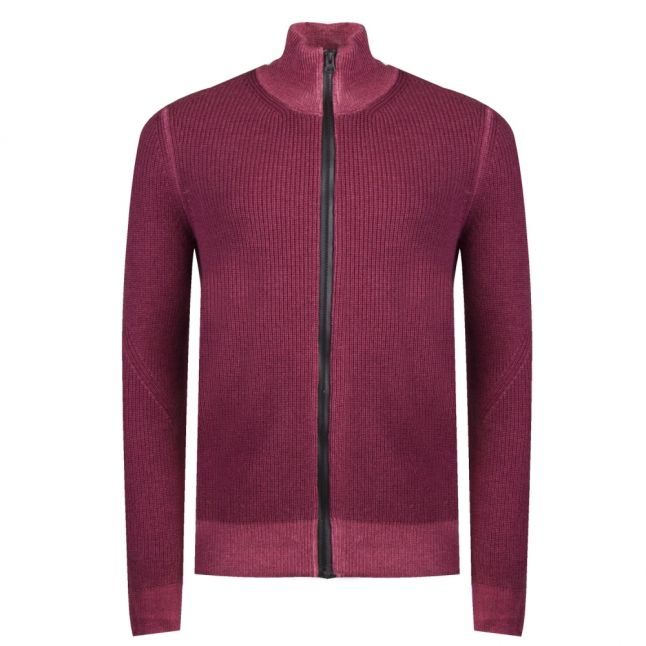 Casual Mens Dark Red Afurly Zip Through Knitted Jacket