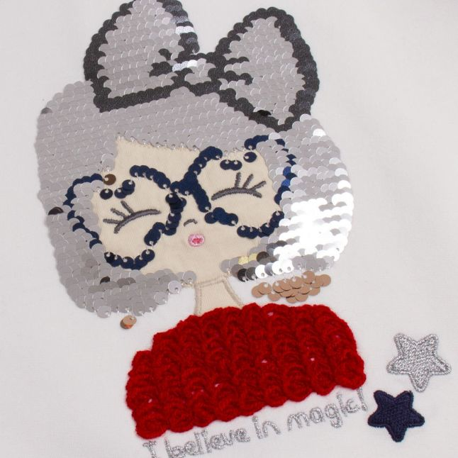 Girls Cream/Navy Sequin Girl Top + Culottes Set