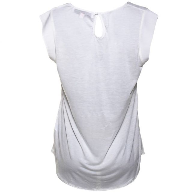 Womens Daisy White Classic Polly Plains Capped Sleeve Top