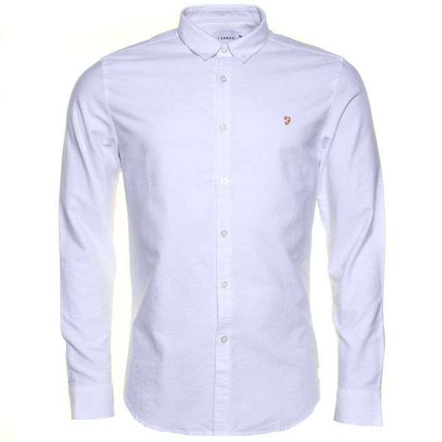 Mens White Brewer Oxford Slim Fit L/s Shirt