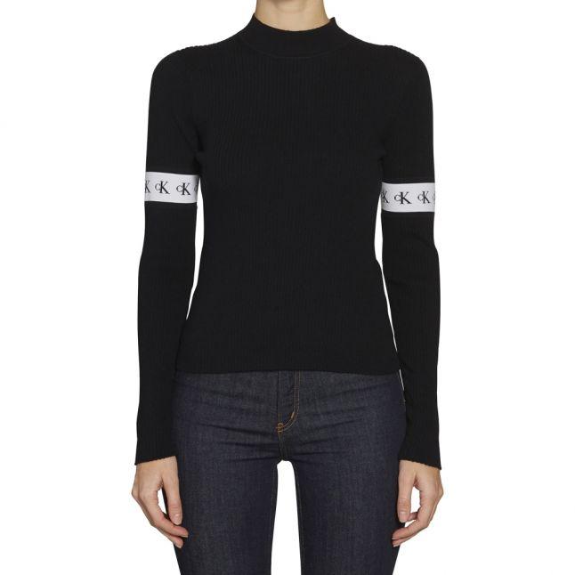 Womens CK Black Monogram Tape Ribbed Knitted Jumper