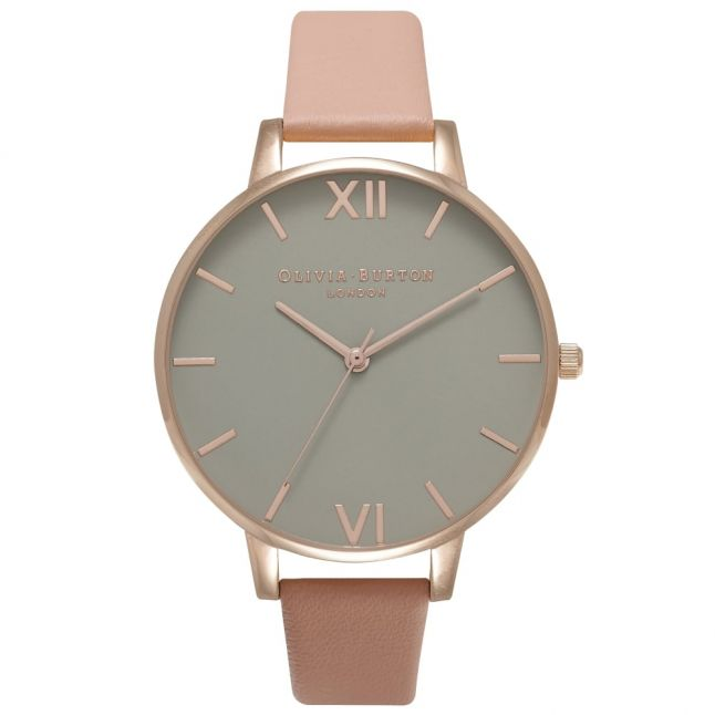 Womens Dusty Pink & Rose Gold Grey Big Dial Watch