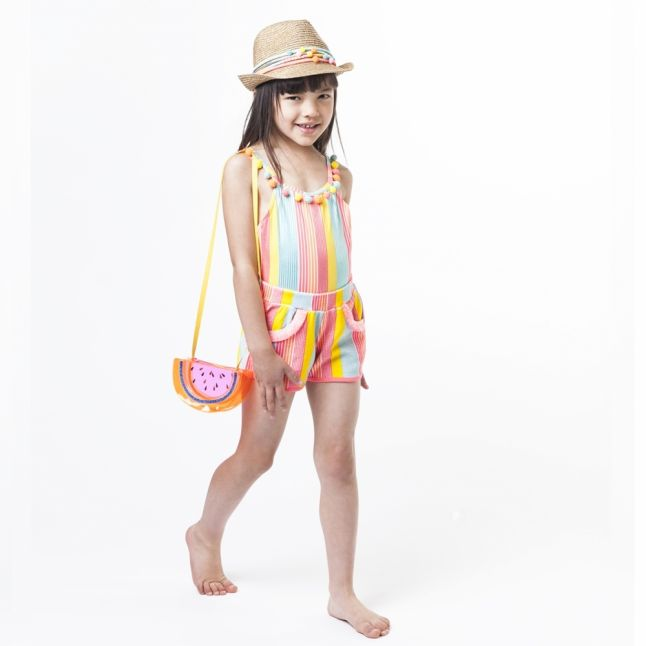 Girls Pink Multi Glitter Stripe Beach Shorts