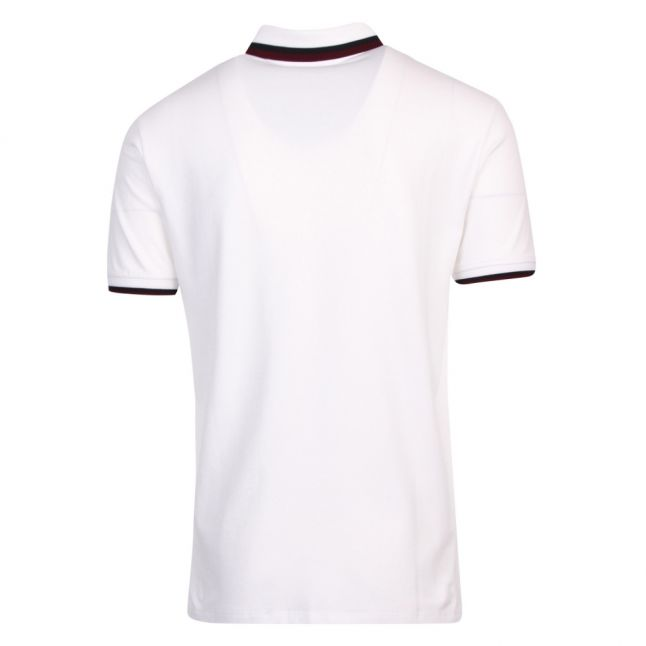 Mens White Double Tipped S/s Polo Shirt