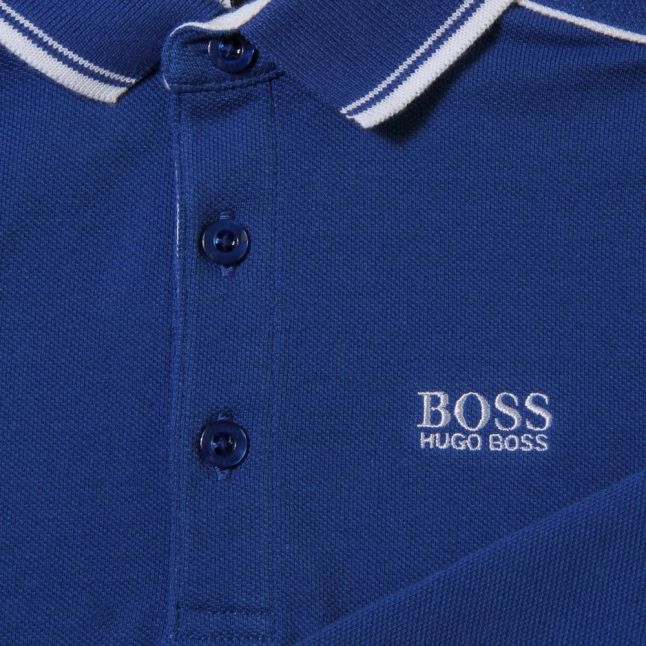Boys Blue Tipped Branded L/s Polo Shirt