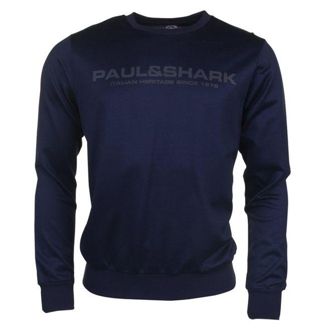 Paul & Shark Mens Navy Chest Logo Sweat Top