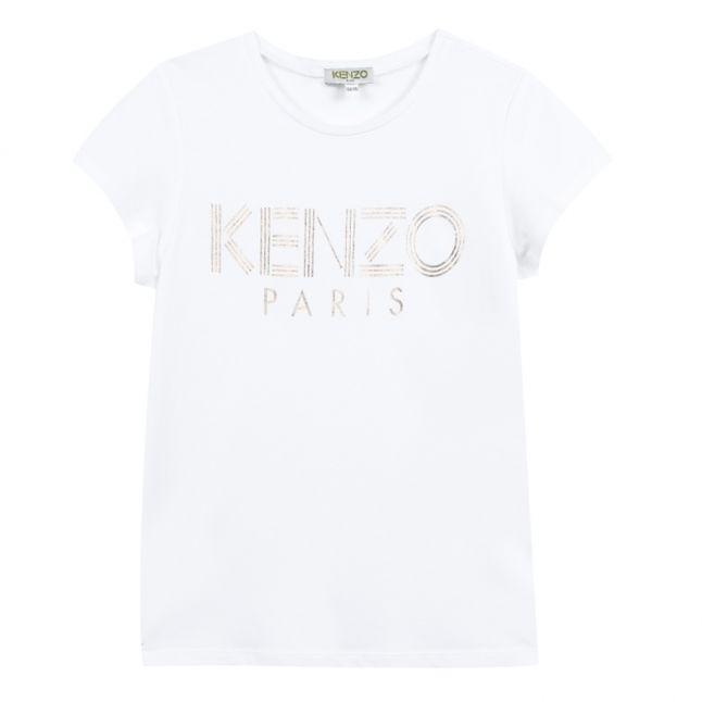 Girls Optic White Foil Logo S/s T Shirt