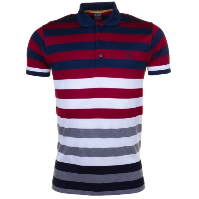 Paul & Shark Mens Red Assorted Striped Shark Fit S/s Polo Shirt