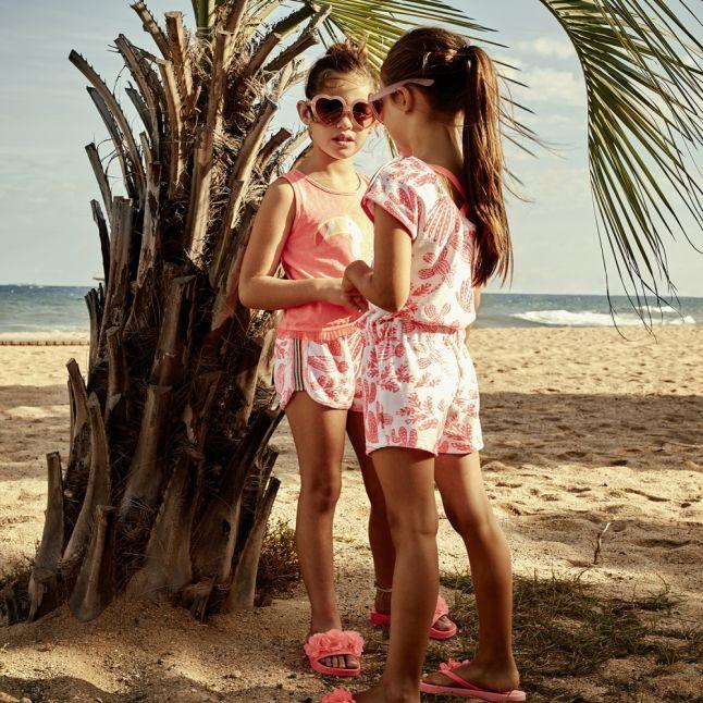 Girls Pink/White Printed Towelling Shorts