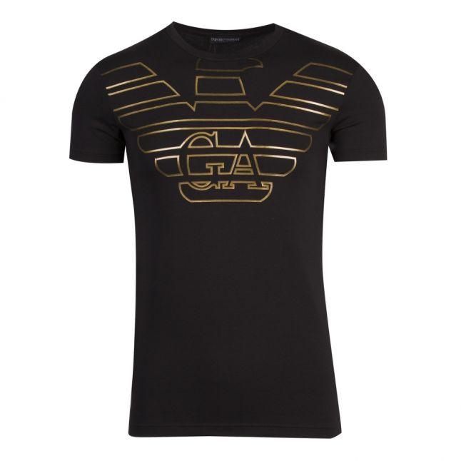 Mens Black/Gold Large Metallic Eagle Slim Fit S/s T Shirt