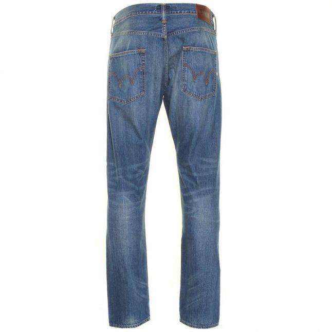 Mens 11.5oz F8.M2 Blue Mid Used Wash ED-55 Relaxed Tapered Fit Jeans