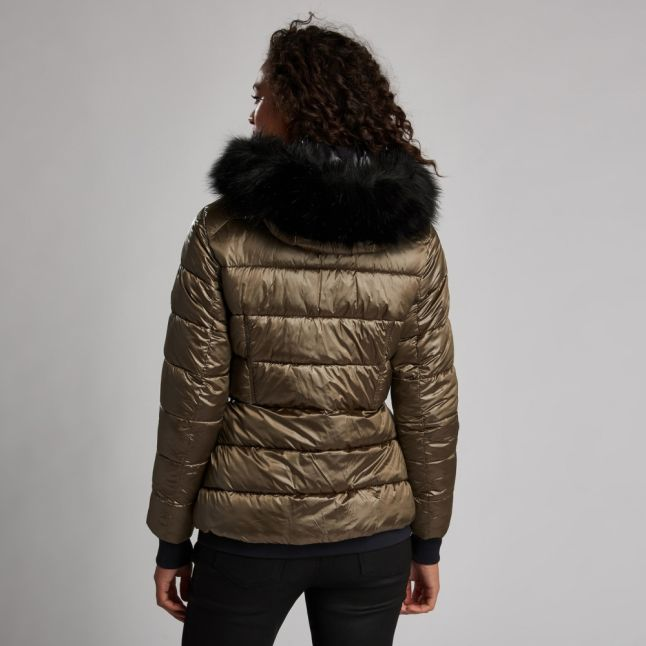 Womens Bronze Premium Strike Hooded Quilted Jacket